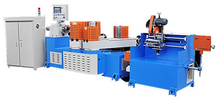 Машина для навивки и нарезки туб, втулок и шпулей и автоматической их нарезки на отрезки - диаметр туб 10 – 200 мм, толщина стенки 1-10 мм. Фото 3.