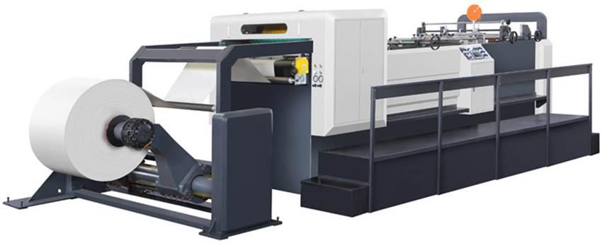Скоростная ротационная листорезальная машина GM-1400 с несколькими размоточными валами (листорезка - флаторезка). Фотография 1.