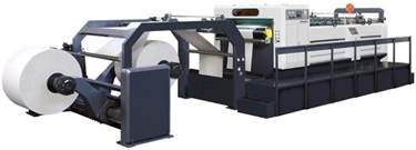 Скоростная ротационная листорезальная машина GM-1400 с несколькими размоточными валами (листорезка - флаторезка). Фотография 2.