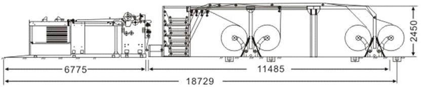 Скоростная ротационная листорезальная машина GM-1400 с несколькими размоточными валами (листорезка - флаторезка). Фотография 11.